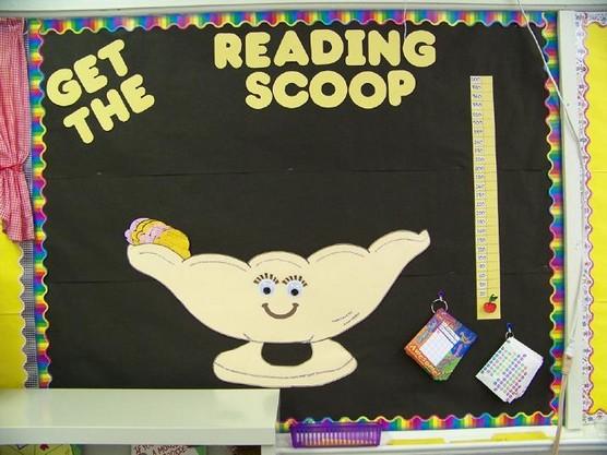 reading scoop  ice cream bulletin board idea
